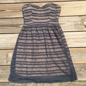 Dark Gray and Peach Strapless Lace Dress